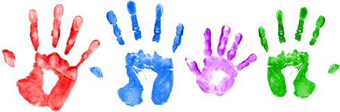 Adult and children's hands.