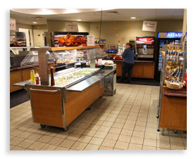 Photo of the Commons Food Court with overlapping image of the Pantry